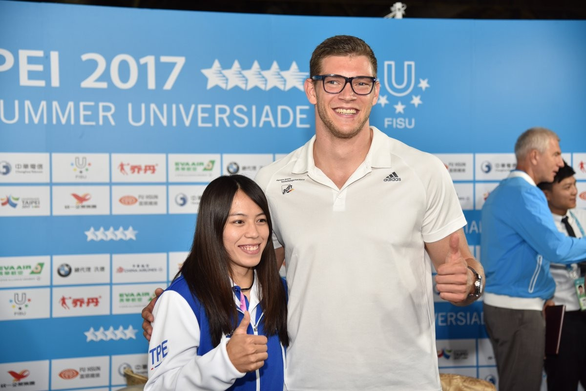 Chinese Taipei's weightlifter Kuo Hsing-chun, left, and German javelin thrower  Andreas Hofmann both gave positive feedback on the Universiade before the Closing Ceremony tonight ©Taipei 2017