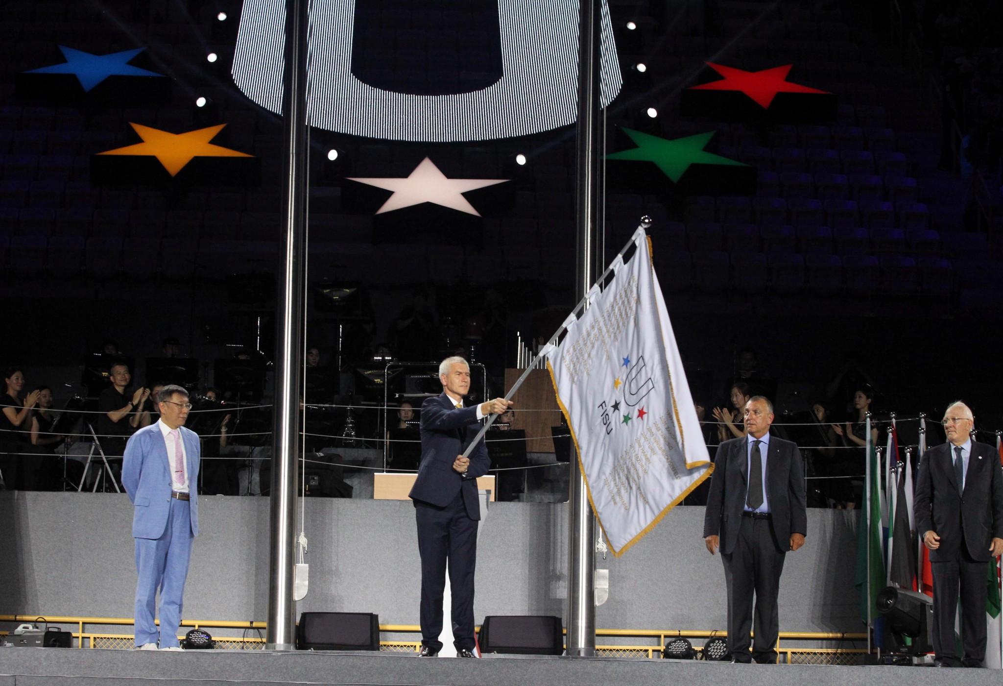 The FISU flag was transferred from Taipei to 2019 hosts Naples ©Taipei 2017