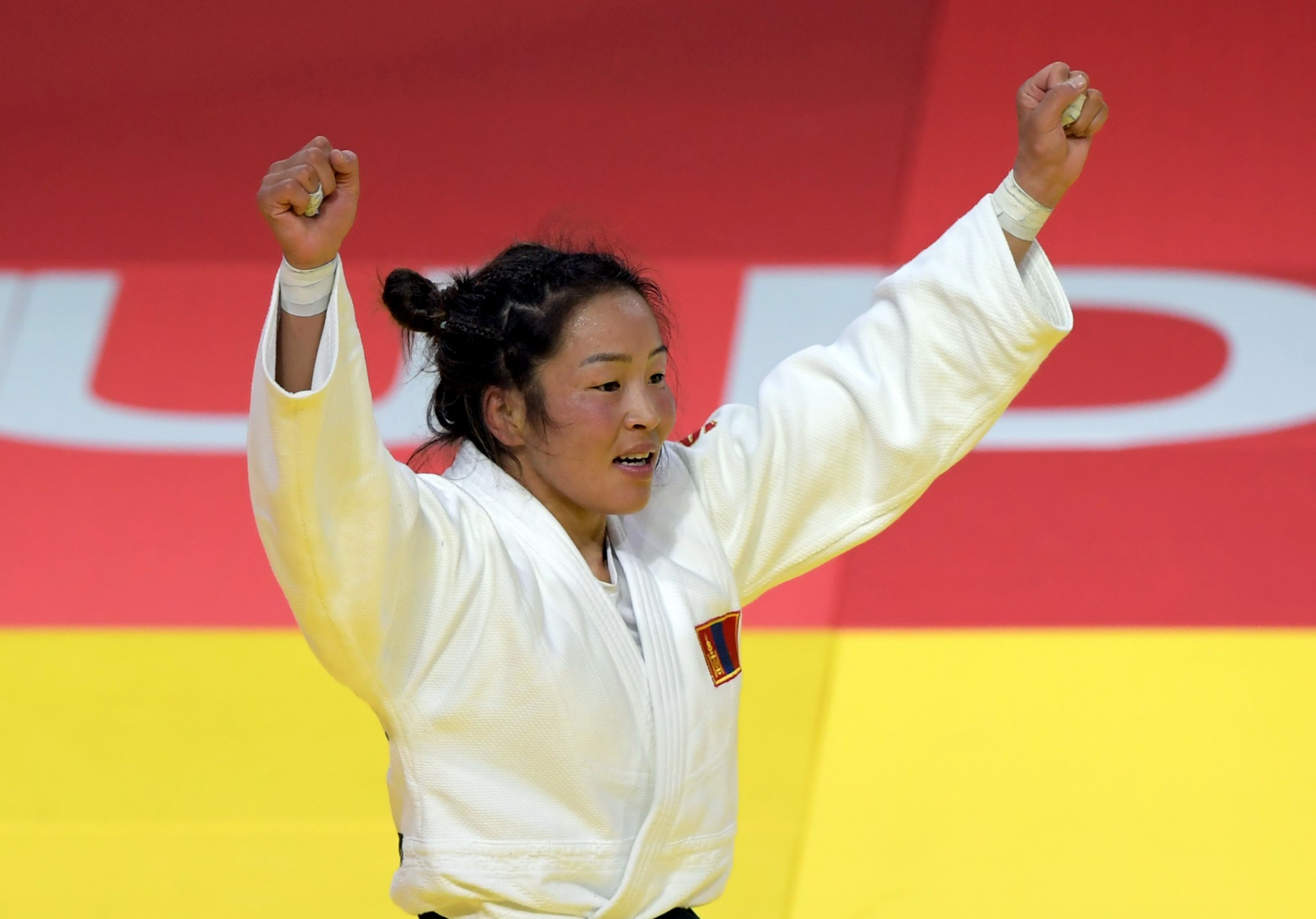 Olympic silver medallist Sumiya Dorjsuren of Mongolia won the under 57kg title on day three ©Getty Images
