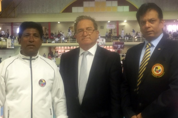 Michael Kassis, centre, President of the Commonwealth Karate Federation, pictured with CKF assistant general secretary Bharat Sharma, right, and Sonny Pillay, President of Karate South Africa, on a venue tour last year ©CKF