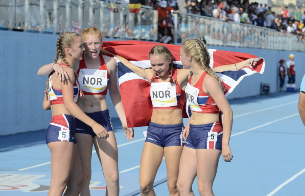 Norway were victorious in the girl's 4x100m relay