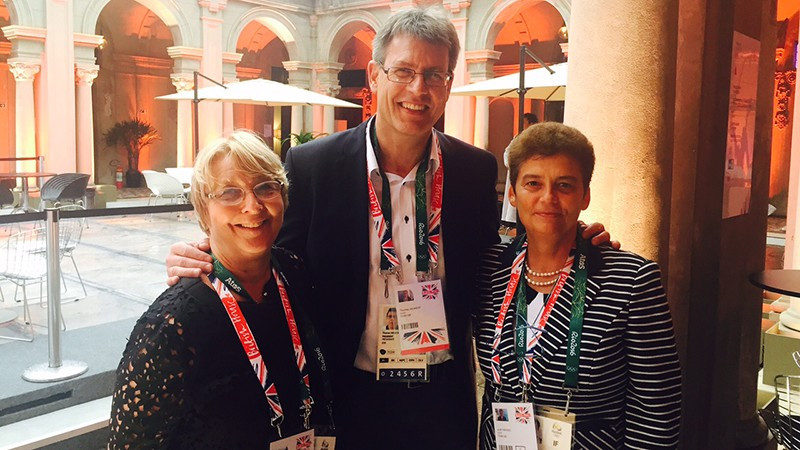 Judit Farago, right, has officially left her role as chief executive of the ITTF following reports a breakdown in her relationship with its President Thomas Weikert, centre, although neither side have so far commented ©ETTA