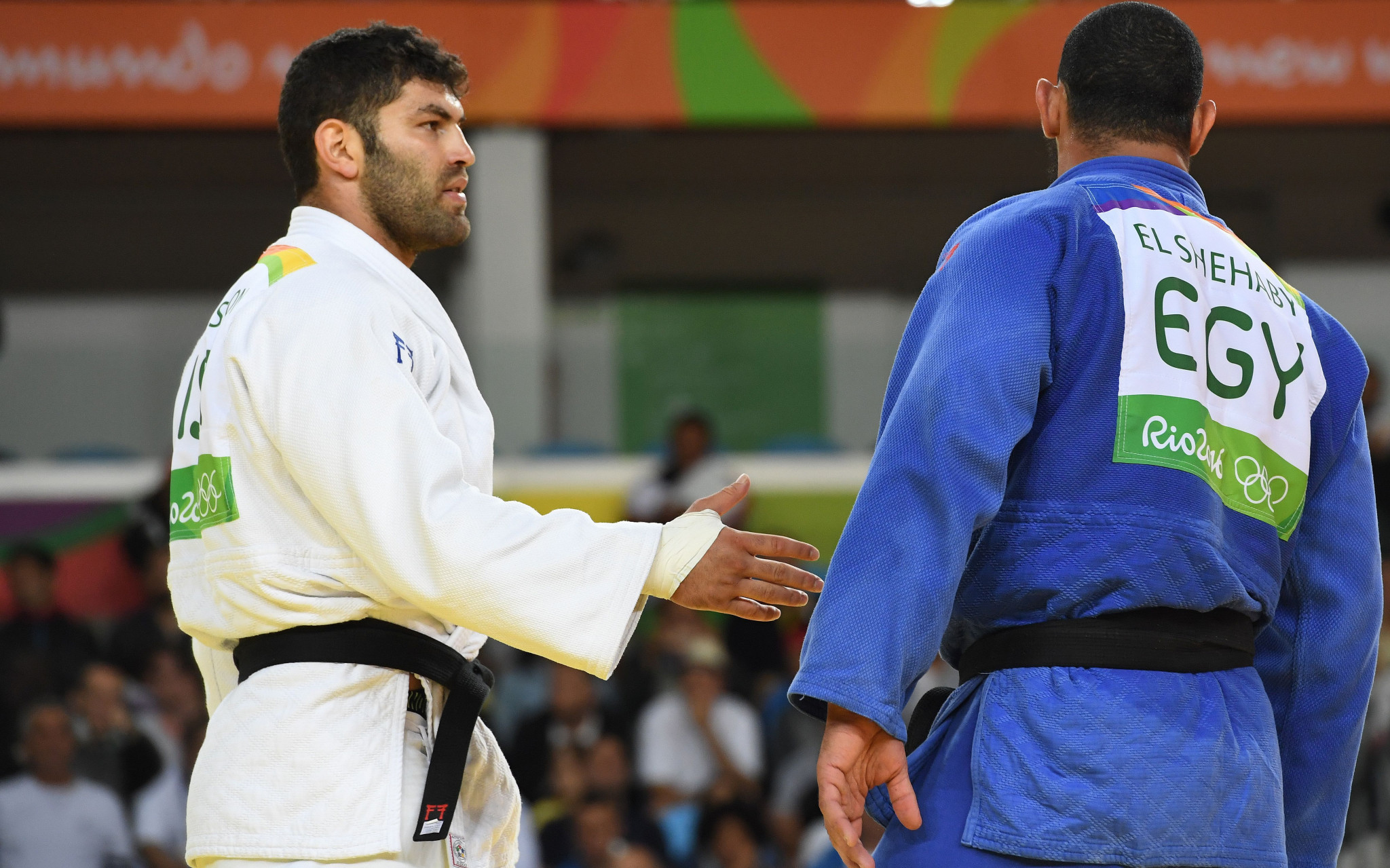 Egyptian judoka Islam El Shehaby refused to shake the hand of bronze medallist Or Sasson following a preliminary round loss at under 100 kilograms at Rio 2016 ©Getty Images