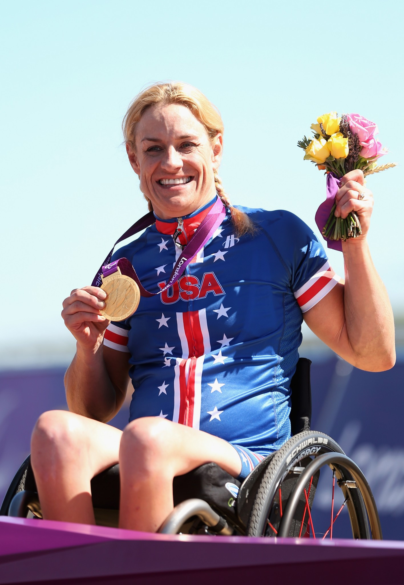 Marianna Davis won three road cycling gold medals at the London 2012 Paralympic Games ©Getty Images