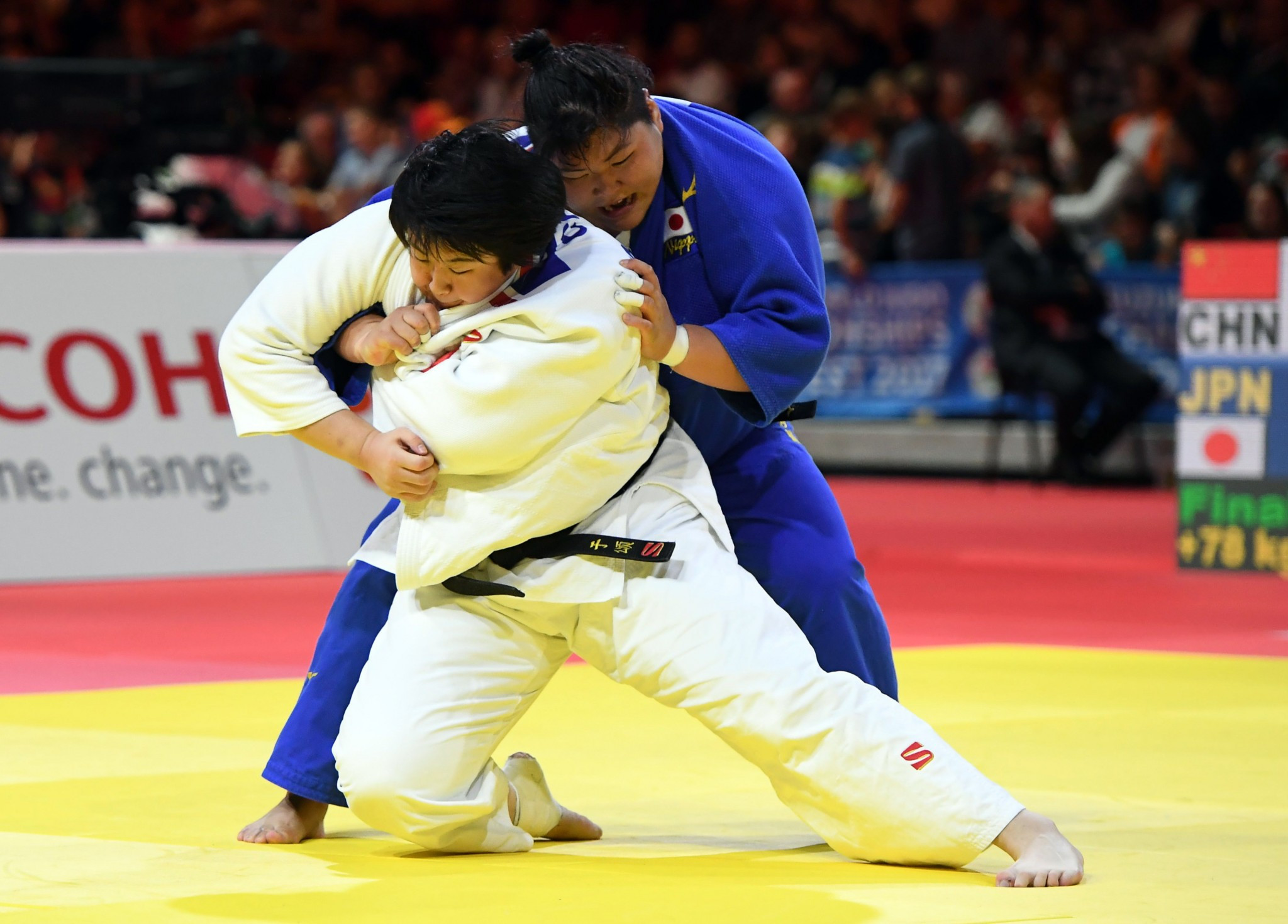 Yu Song of China defended her over-78kg title with a battling win over Japan's Sarah Asahina ©Getty Images