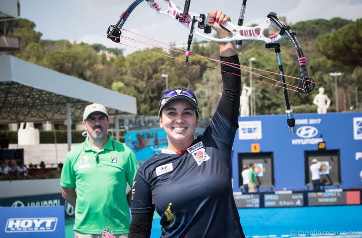 Sara López celebrates a third Archery World Cup Final victory in Rome today in the compound event ©World Archery