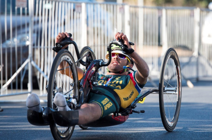 Nicolas Pieter du Preez was a popular home winner in the MH1 race at the UCI World Para-cycling Road World Championships in Pietermaritzburg ©World Cycling