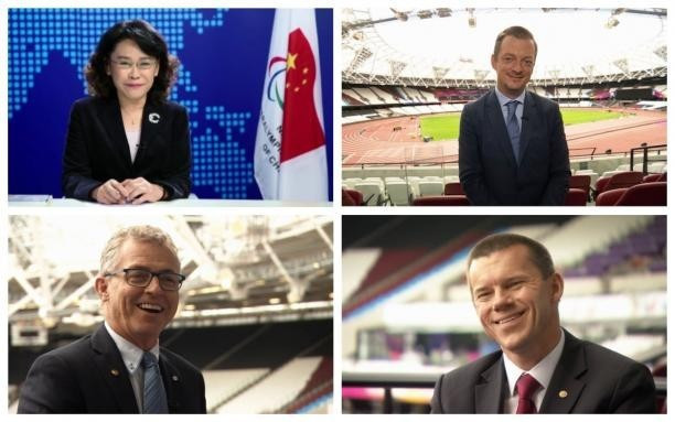Standing to replace Sir Philip Craven as IPC President are Canada's Patrick Jarvis, bottom left, Brazil's Andrew Parsons, top right, Denmark's John Petersson, bottom right, and China's Zhang Haidi, top left ©IPC