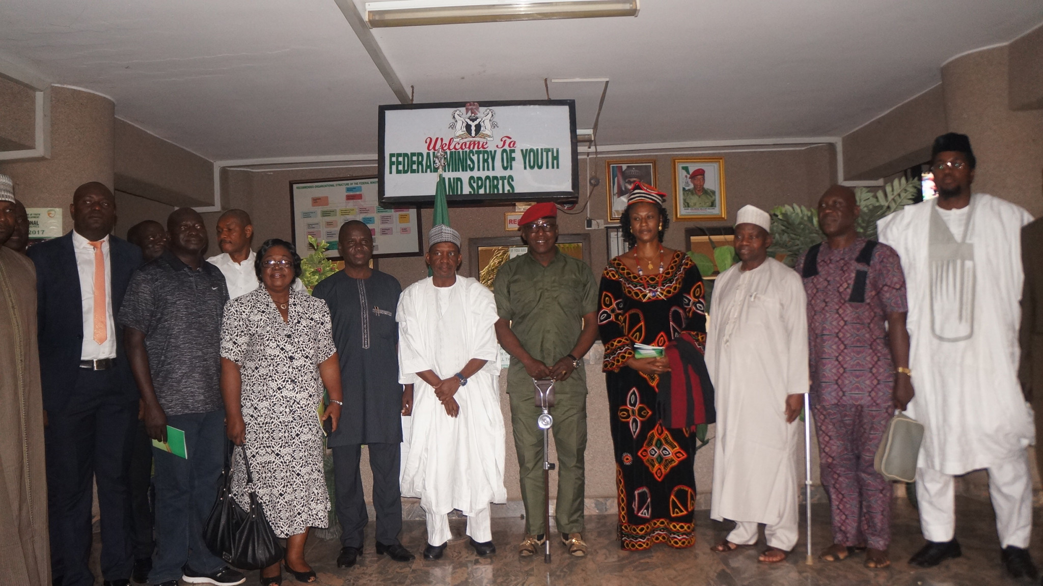 Nigeria's Minister of Youth and Sport Solomon Dalung and the country's first female Nigeria Taekwondo Federation President Margaret Binga and the newly inaugurated Board during a special ceremony in Abuja ©Nigeria Taekwondo Federation