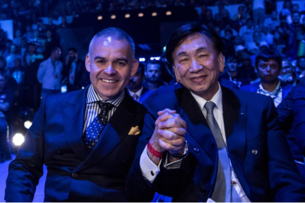 World Boxing Association President Gilberto Mendoza, left, was among the guests of AIBA counterpart C K Wu, right, on the final day of action at the 2017 World Championships ©AIBA