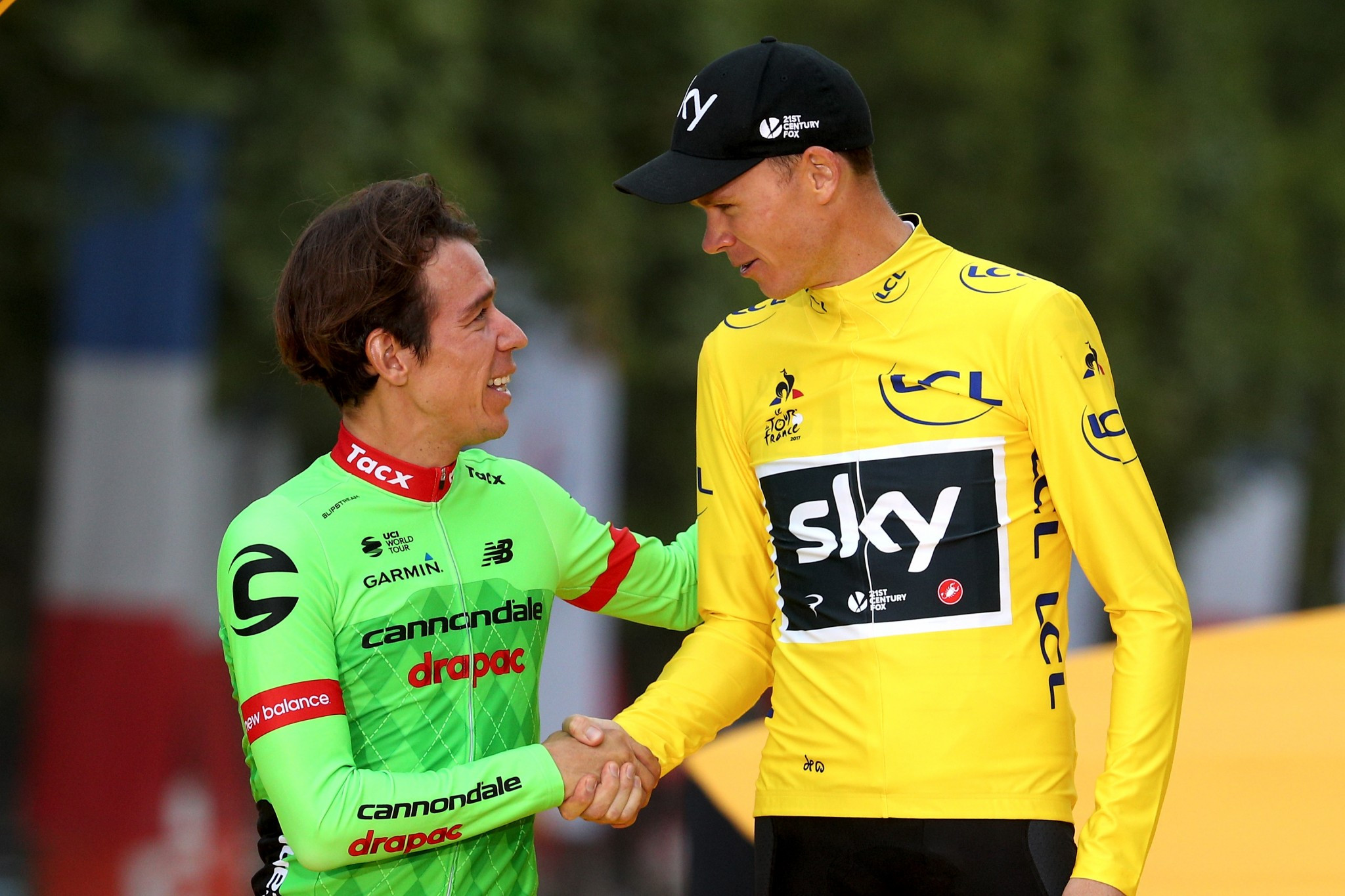 Rigoberto Uran, left, finished second at the Tour de France but faces uncertainty over his team for next year ©Getty Images