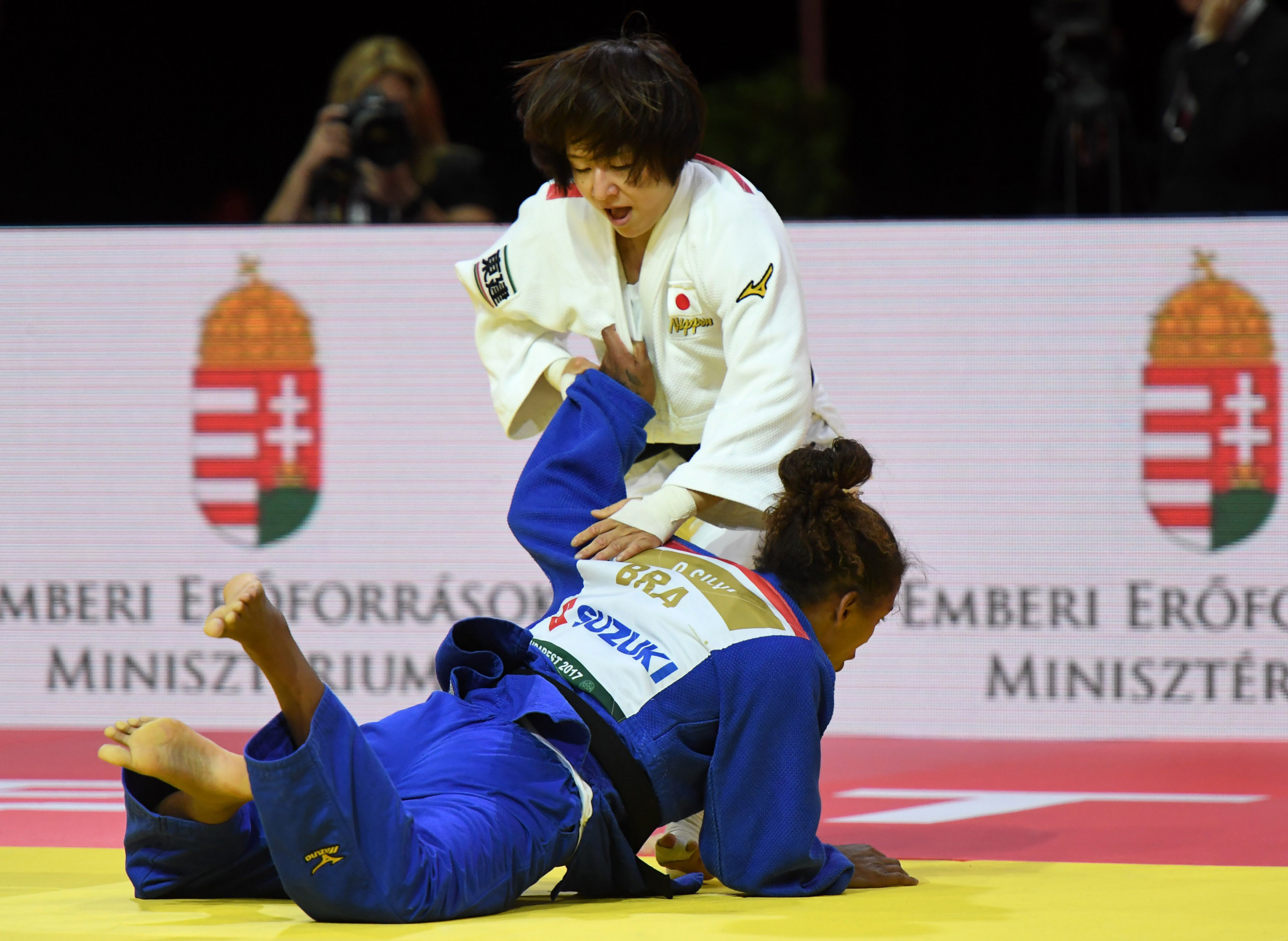 Tsukasa Yoshida got Japan off to the perfect start when she claimed an ippon win over Olympic champion Rafaela Silva ©Getty Images
