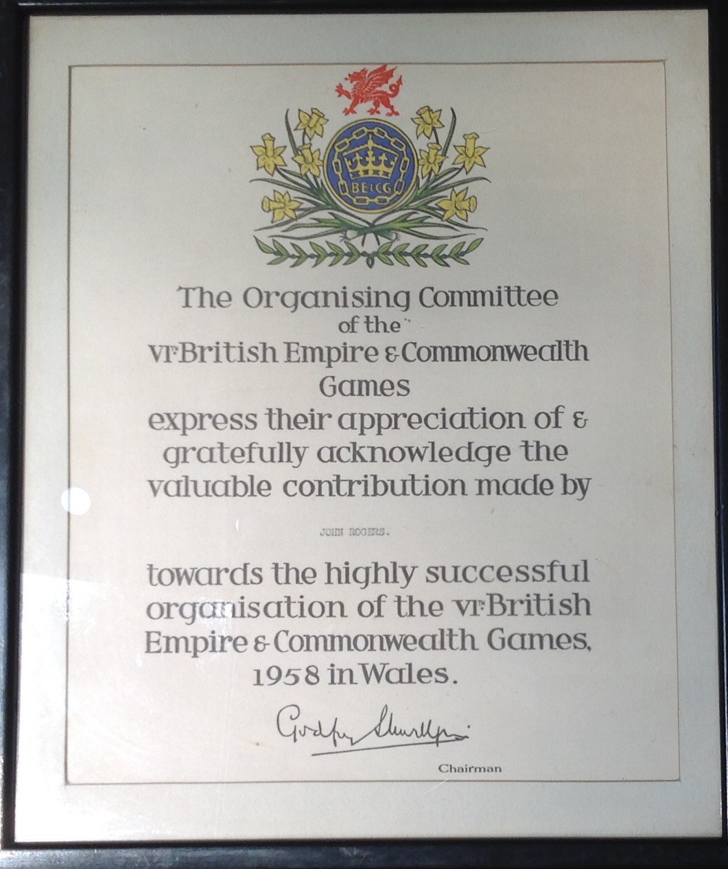 The certificate recalling John Rogers' involvement in the 1958 events ©Graham Greasley