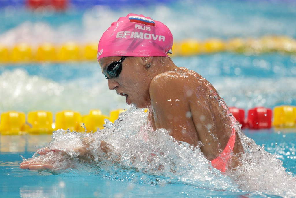 Yuliya Yefimova of Russia returned from a 16-month doping ban to win gold in the women's 100m breaststroke in her first major competition since her suspension