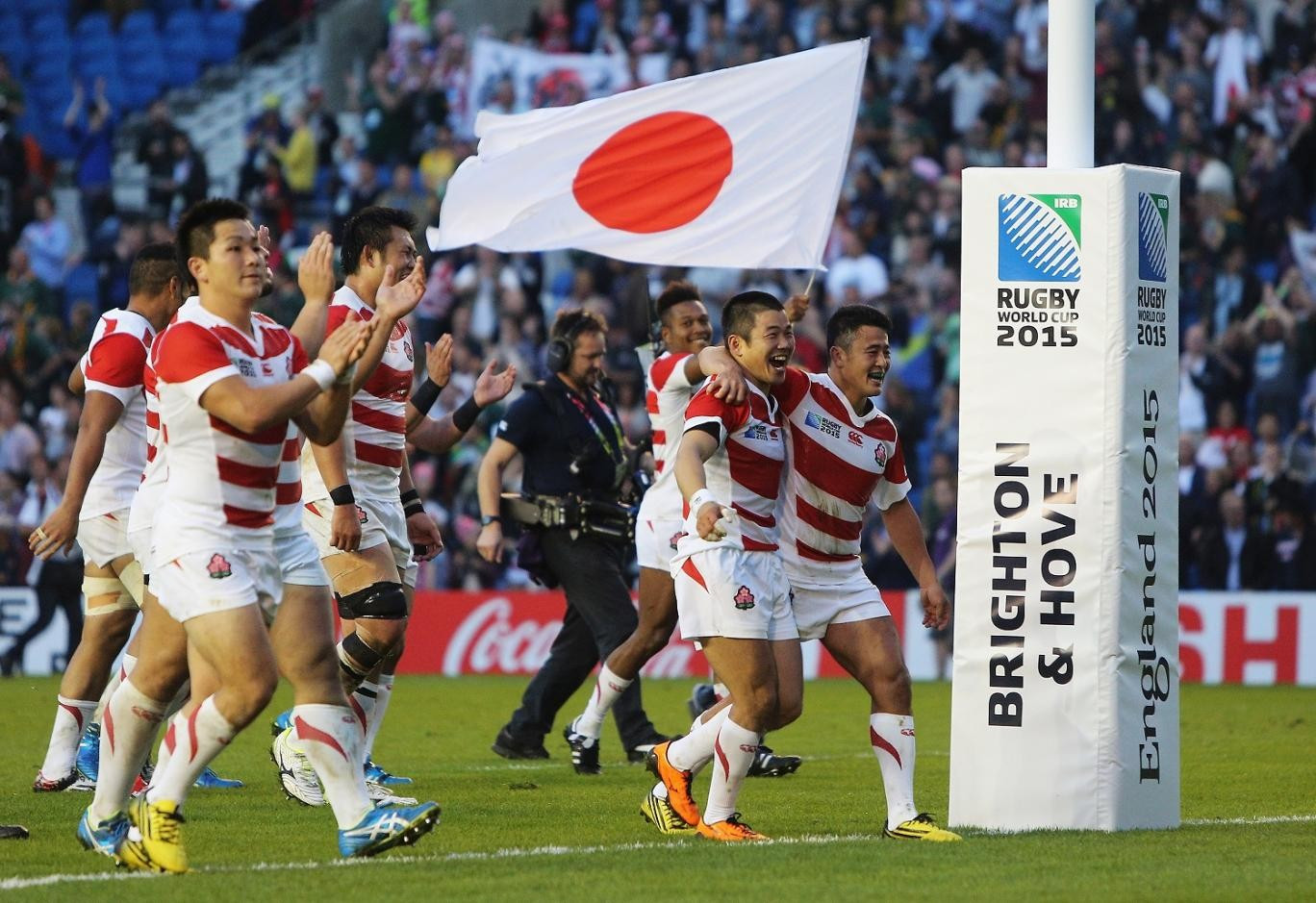 Japan caused one of the biggest shocks in the history of the Rugby World Cup when they beat South Africa during the 2015 tournament in England ©Getty Images