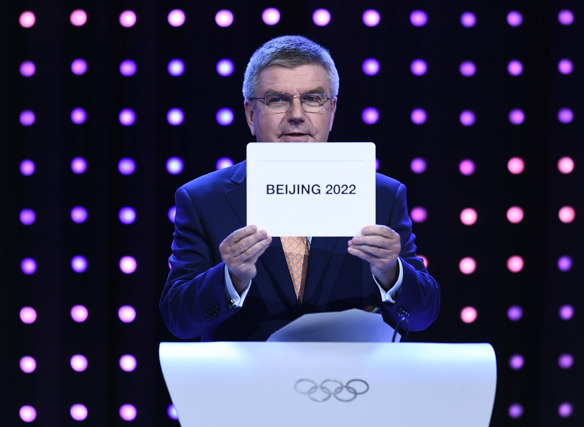 IOC President Thomas Bach revealed Beijing as hosts of the 2022 Winter Olympic and Paralympic Games at the 2015 IOC Session in Kuala Lumpur ©Getty Images