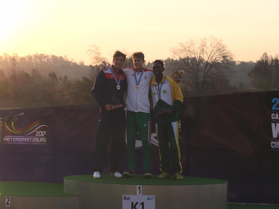 Ádám Varga, centre, was one of four Hungarian gold medallists today ©ICF World Marathon Championships/Facebook
