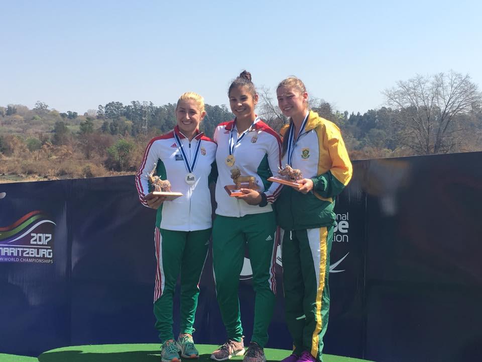 Zsóka Csikós, centre, won Hungary's first gold medal on a dominant day ©ICF World Marathon Championships/Facebook