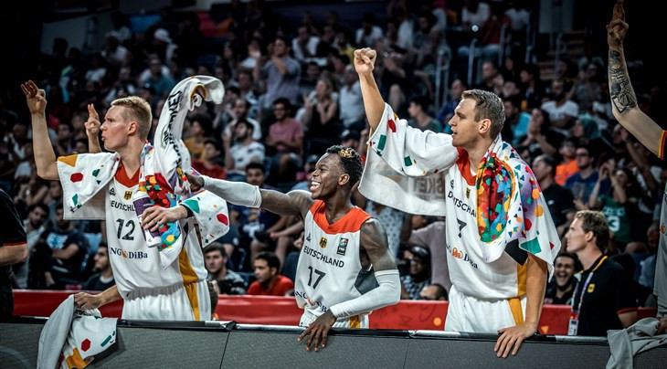 Germany celebrate victory over France to reach the quarter-finals of EuroBasket ©Getty Images