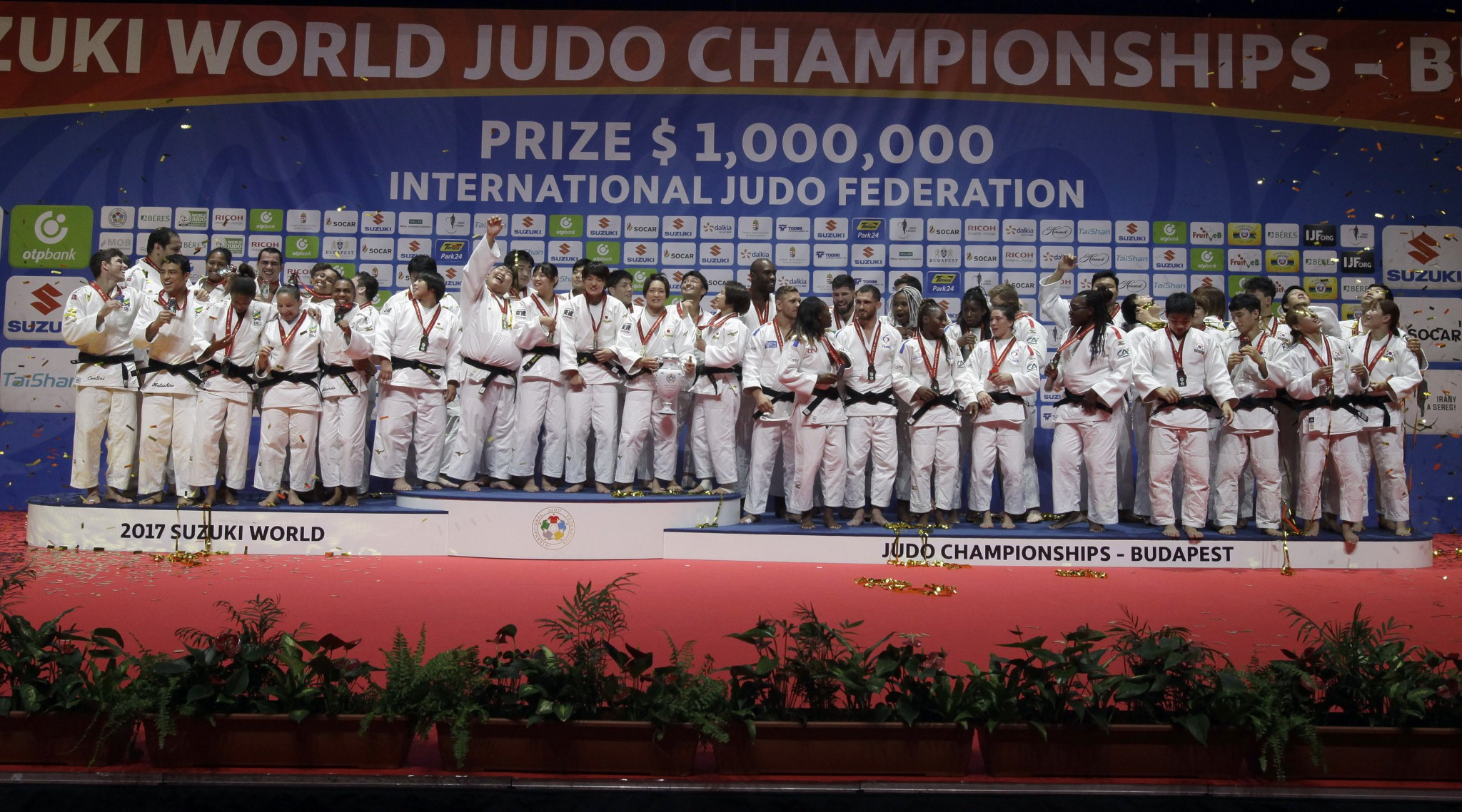 The mixed team judo event made its debut at the senior World Championships in Budapest ©Getty Images