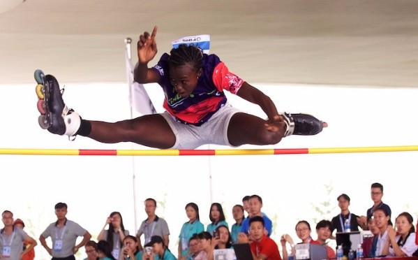 Awa Balde took gold in the women's free jump today ©FIRS