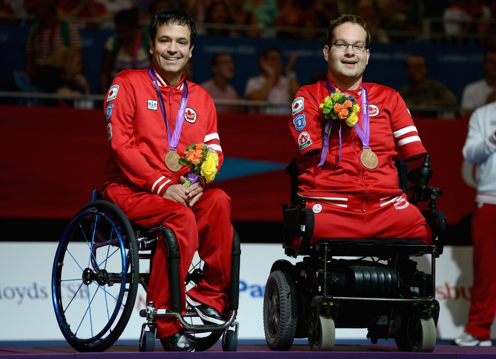 Marco Dispaltro (left) partnered Josh Vander Views to BC4 doubles bronze at the London 2012 Paralympic Games