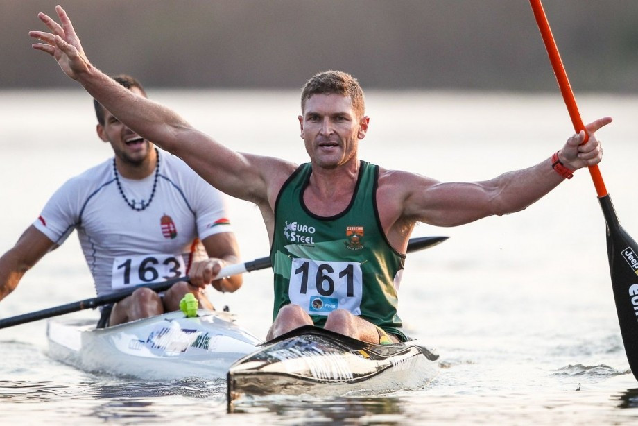 South Africa's Hank McGregor, pictured winning the K1 at the Canoe Marathon World Championships, combined with Jasper Mocke to win the concluding K2 gold today in Pietermaritzburg ©ICF