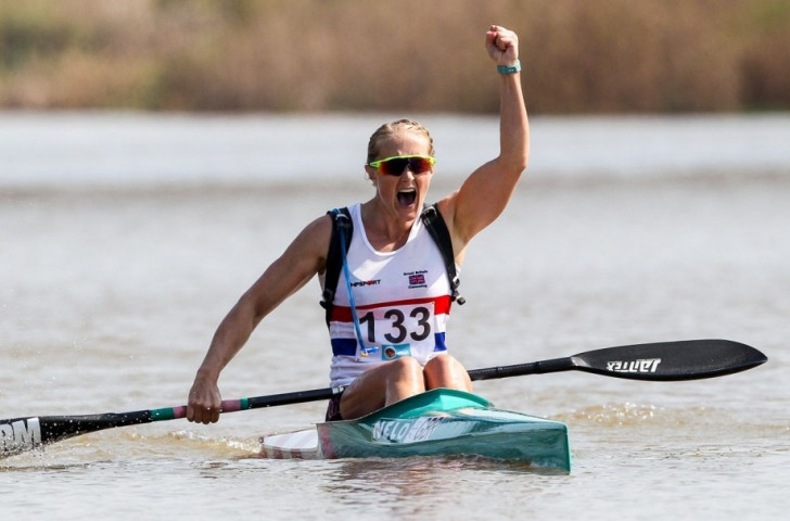 Britain's Lani Belcher, pictured winning the K1 title at the ICF Marathon World Championships in Pietermaritzburg, added a further gold today in the K2 final partnered by   Hayleigh Jayne Mason ©ICF