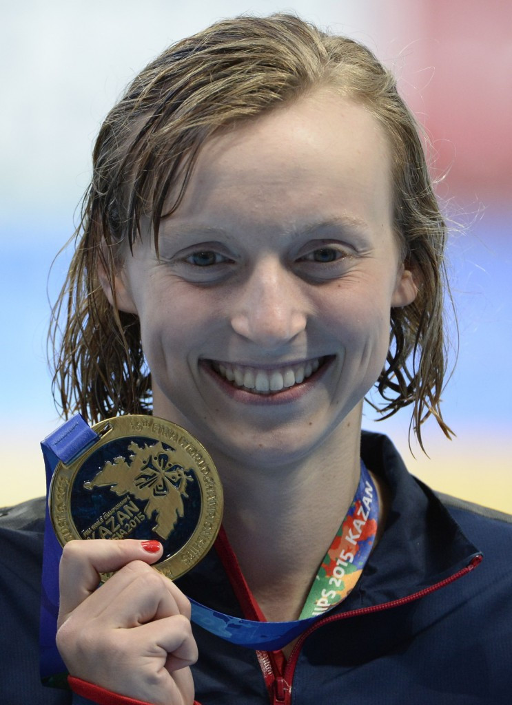 The United States' Katie Ledecky made it a hat-trick of gold medals at these World Championships with victory in the women's 200m freestyle