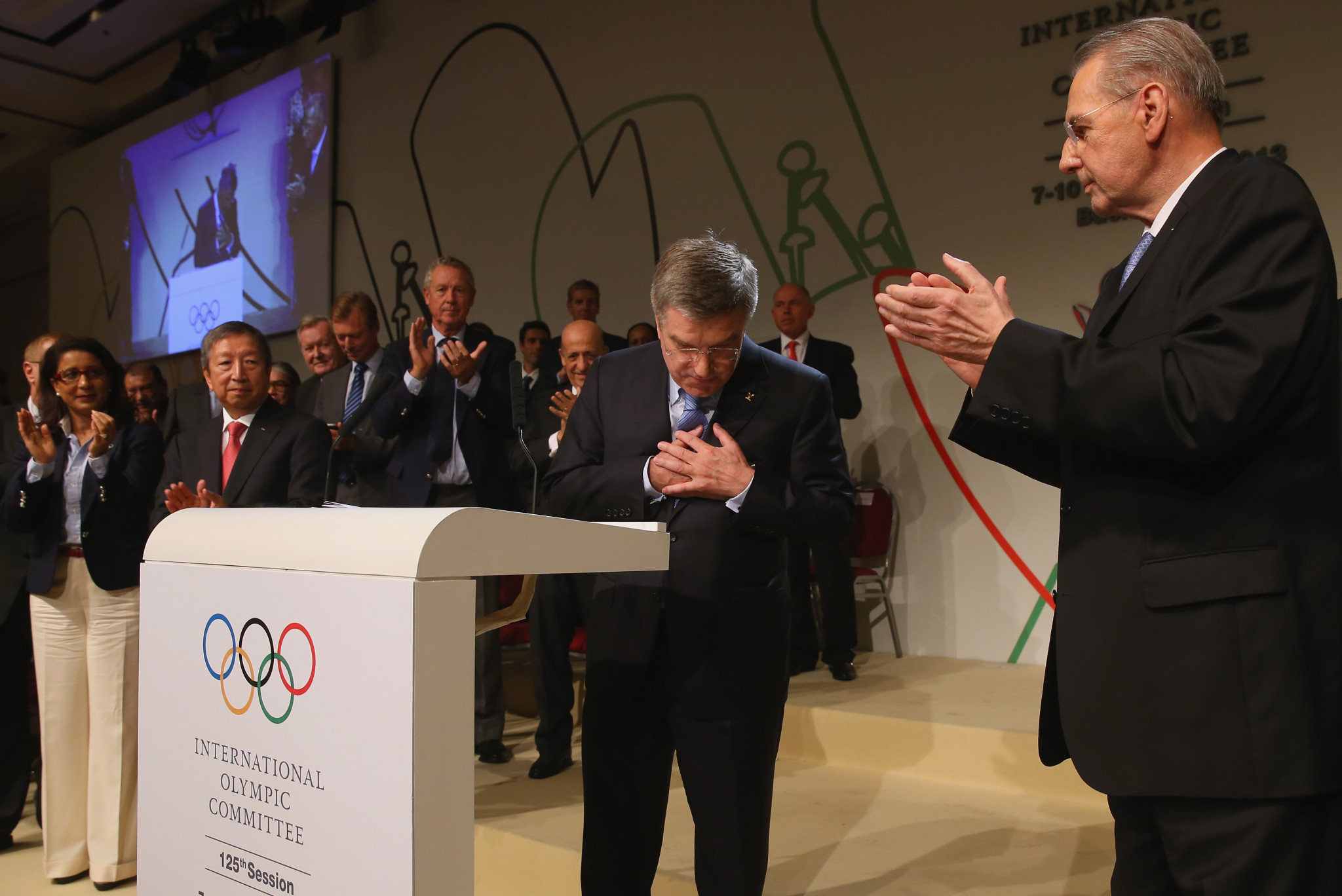Thomas Bach accepts the congratulations after being elected President at the IOC Session in Buenos Aires ©Getty Images
