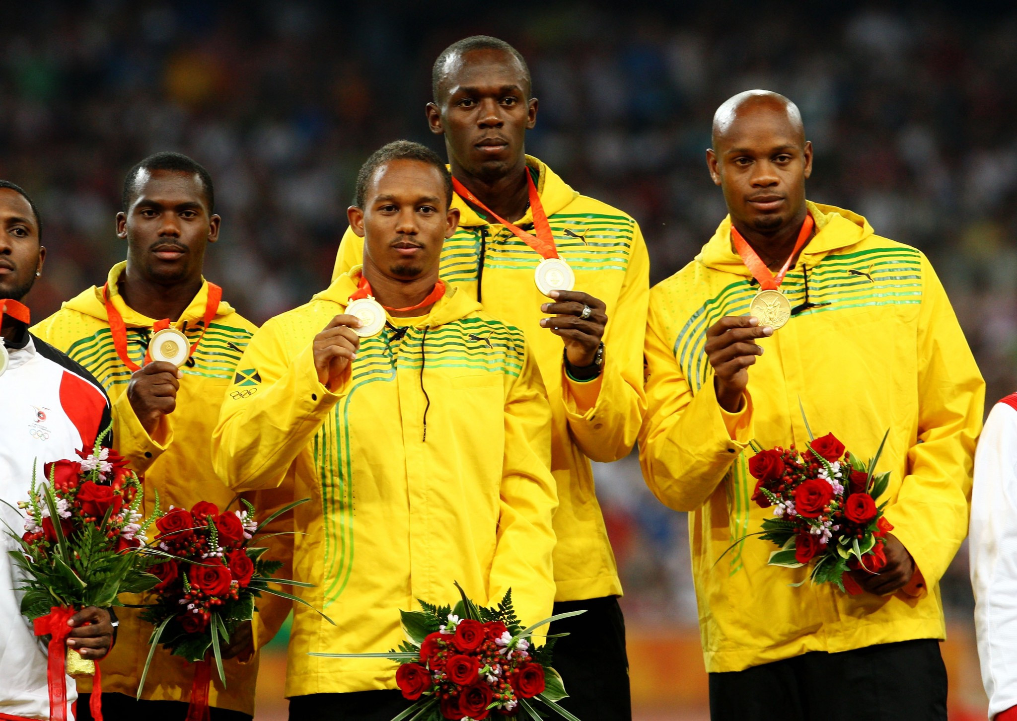 Jamaica lost the Olympic gold medals they won in the 4x100m at Beijing after a re-analysis of the sample of Nesta Carter, left, tested positive for a anned energy boosting substance ©Getty Images