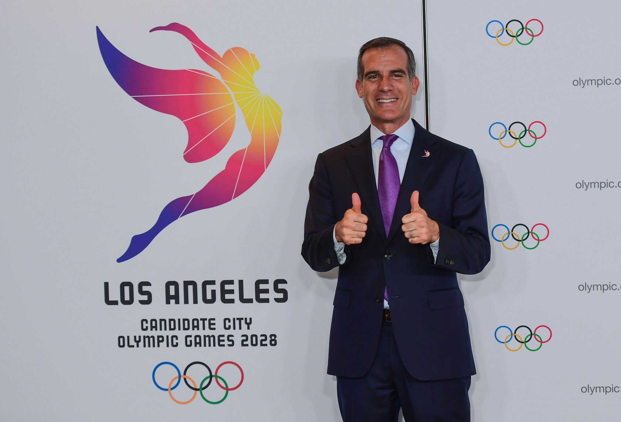 Los Angeles Mayor Eric Garcetti is leading his city's delegation in Lima where they will be officially awarded the 2028 Olympic and Paralympic Games on Wednesday ©Getty Images