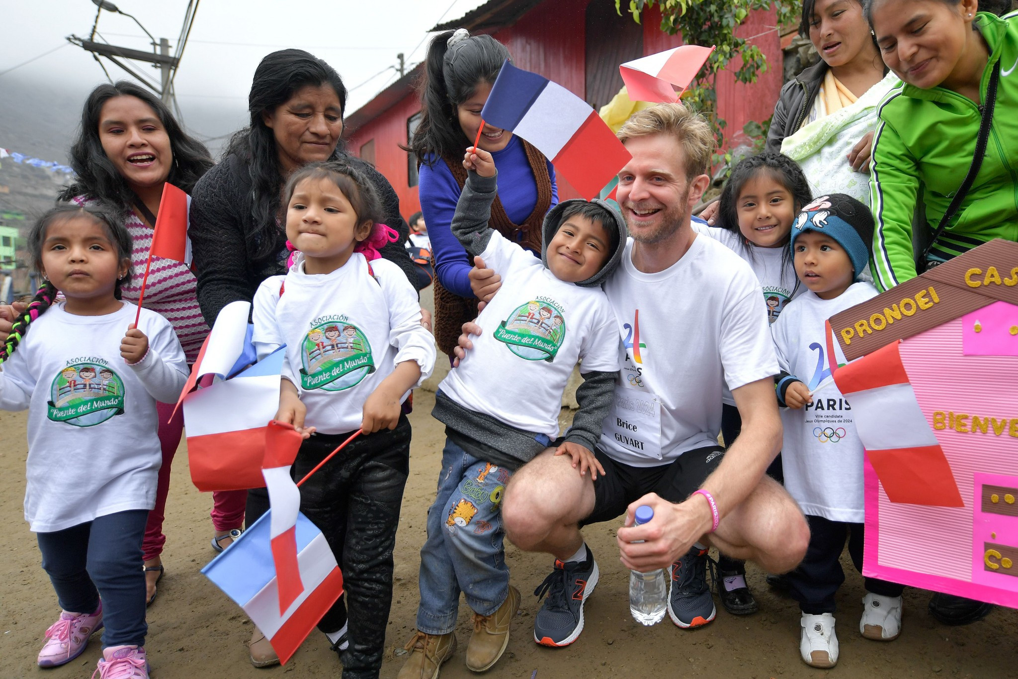 French athletes visited the humanitarian project in Lima ©Getty Images