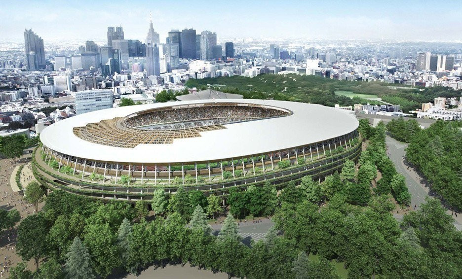 Wood is being used in the construction of the Tokyo 2020 Olympic Stadium ©Japan Sports Council