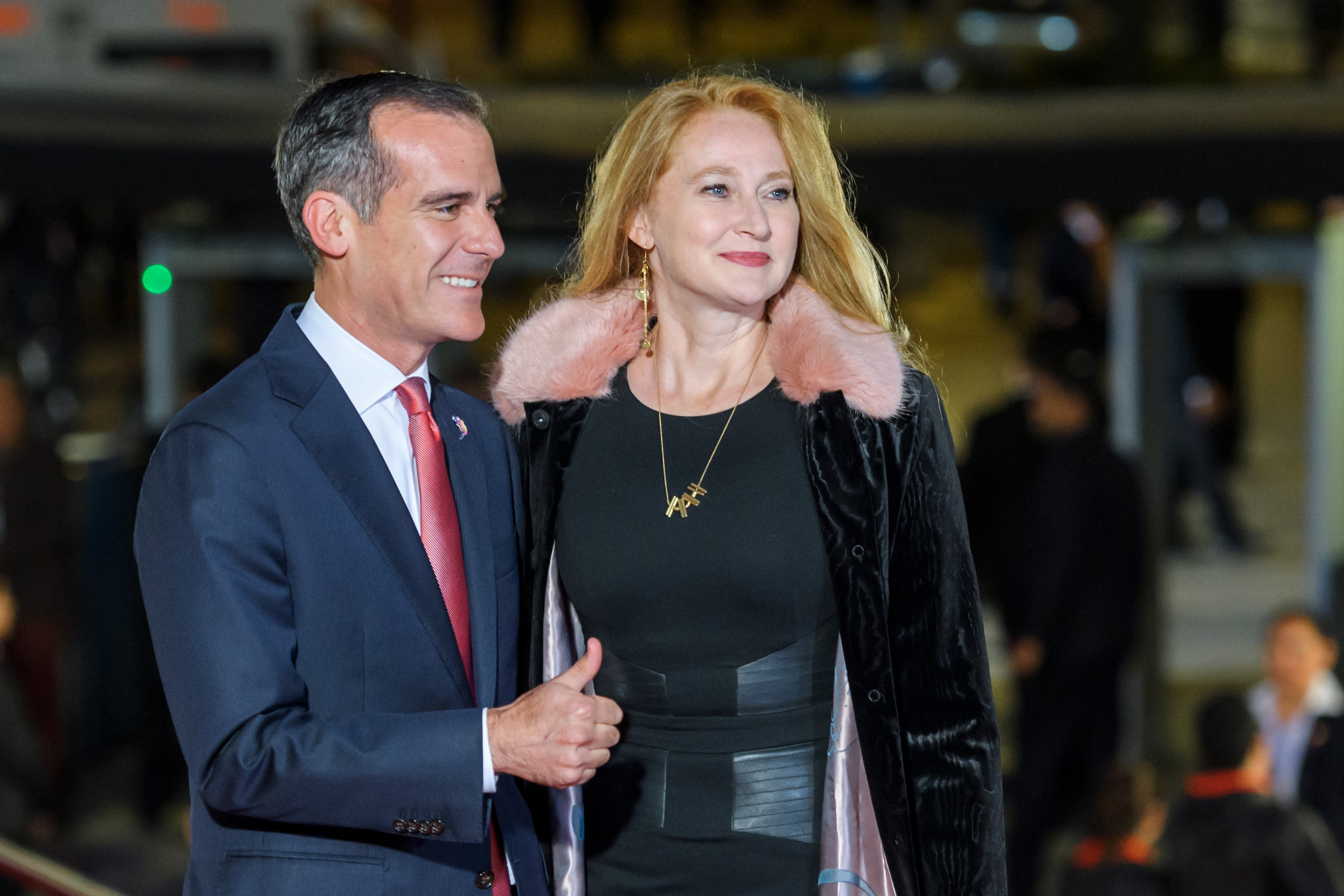Los Angeles Mayor Eric Garcetti was also present prior to the city being awarded the 2028 Games ©Getty Images