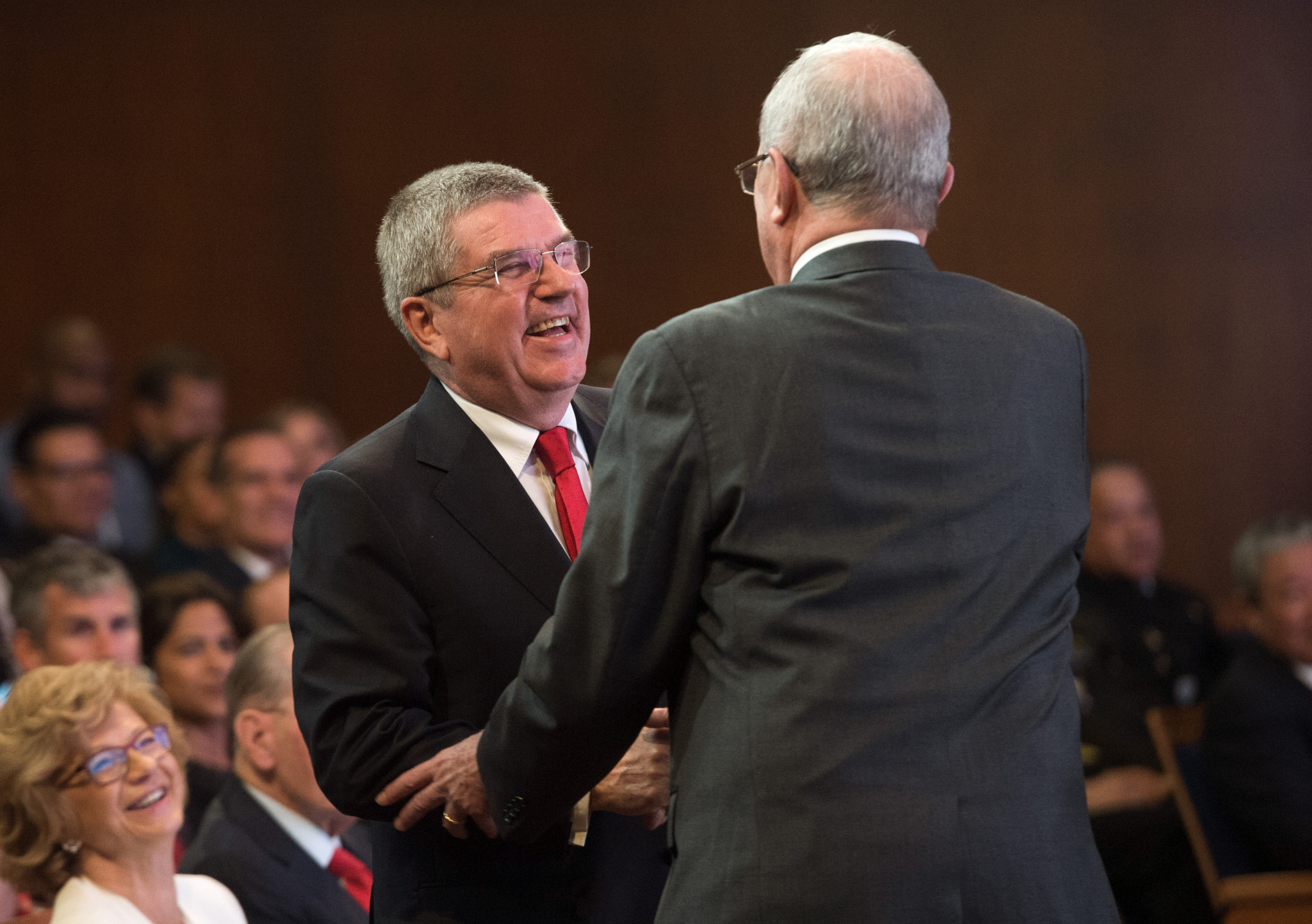 He was greeted by IOC President Thomas Bach afterwards ©Getty Images