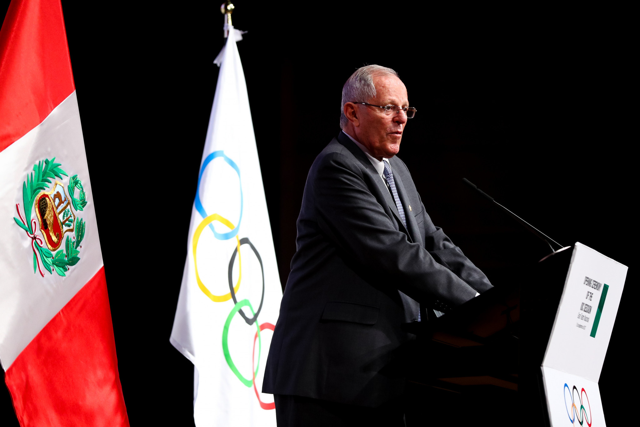 Peru President Pedro Pablo Kuczynski delivered the opening speech of the Ceremony ©Getty Images