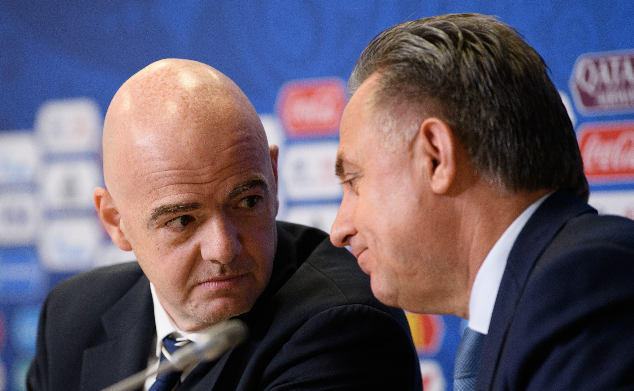 FIFA President Gianni Infantino, left, attempted to block a decision to prevent  Vitaly Mutko, right, from standing for re-election to the Council because he was part of the Russian Government ©Getty Images