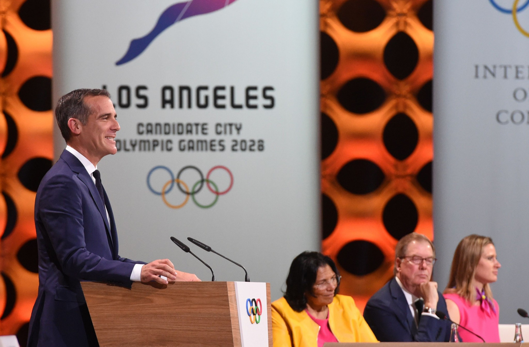 Los Angeles Mayor Eric Garcetti said the city would inspire a generation for the next 11 years ©Getty Images
