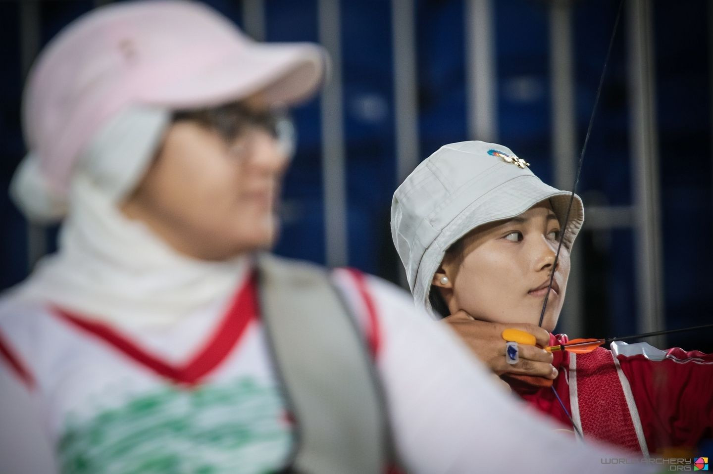 Iran's double Paralympic champion Zahra Nemati (foreground) finished ahead of defending champion Wu Chunyan in the opening ranking competition at the World Archery Para Championships in Beijing ©WorldArchery