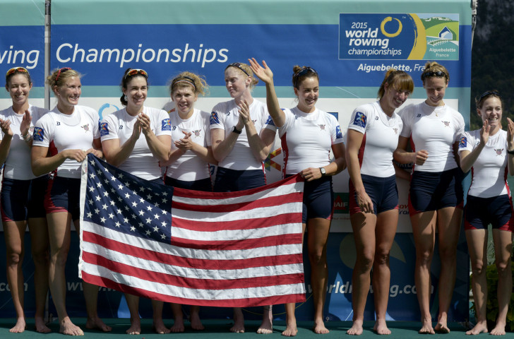 The US women's eight celebrate the world title they will defend on home water later this month following confirmation the World Rowing Championships in Sarasota will go ahead despite Hurricane Irma ©Getty Images