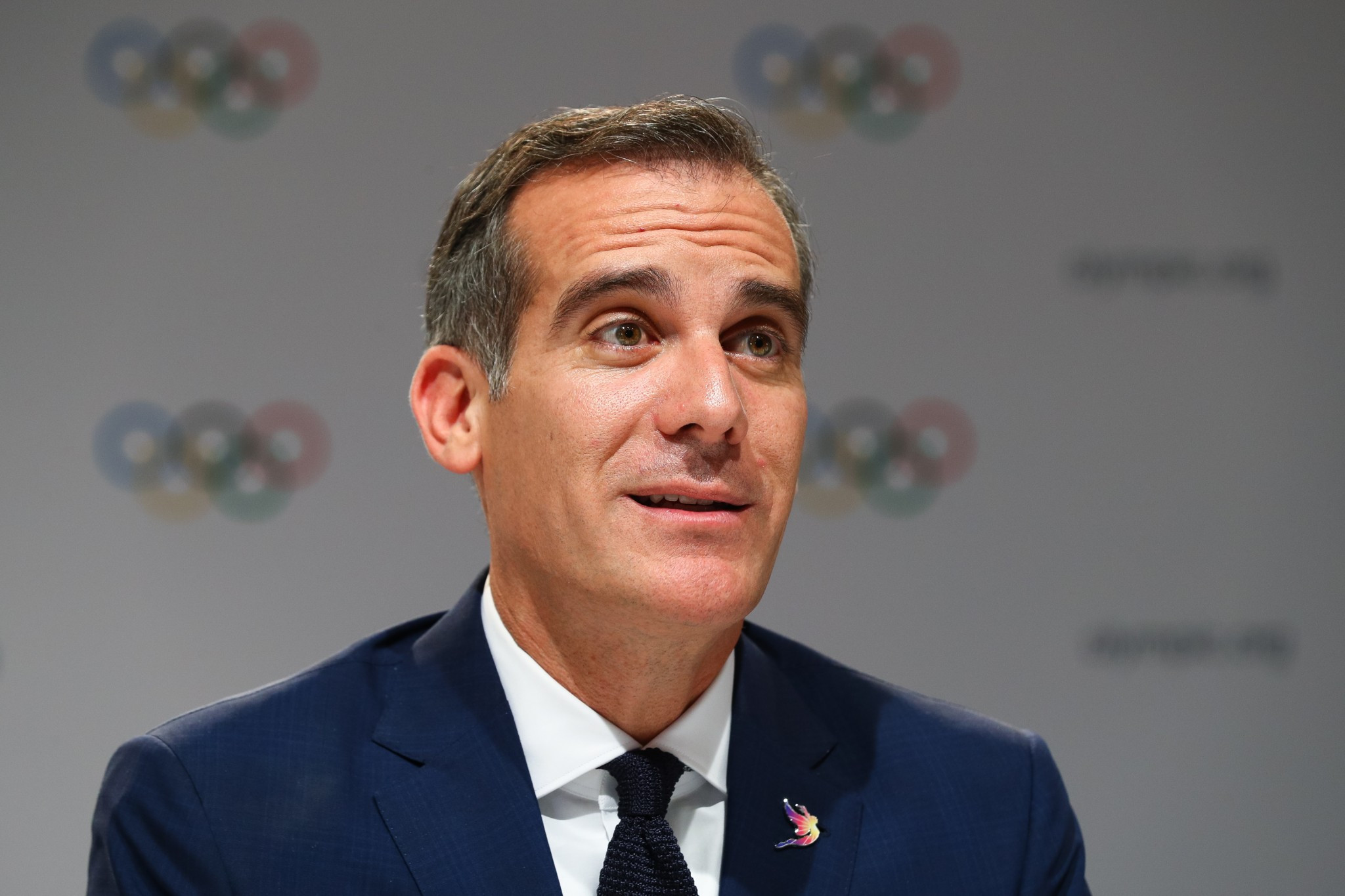 Los Angeles Mayor Eric Garcetti launched a robust defence of the Olympic Games ©Getty Images