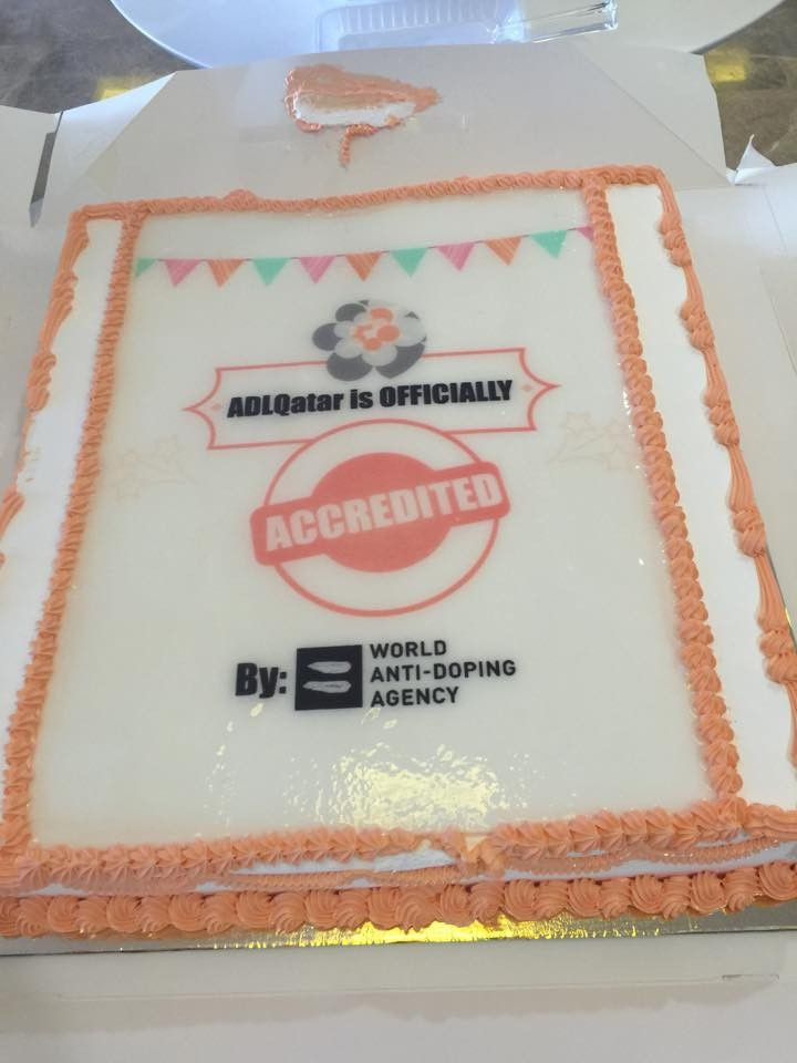 Anti-Doping Lab Qatar celebrated its WADA accreditation with a special cake