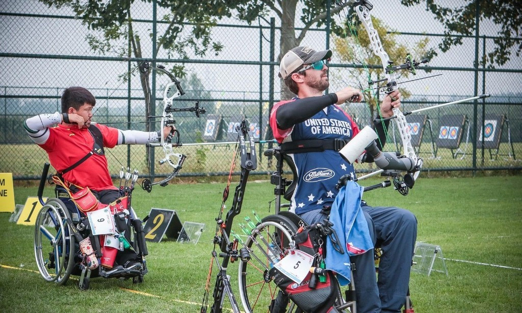 Ben Thompson, right, won bronze in the compound men's open event ©World Archery