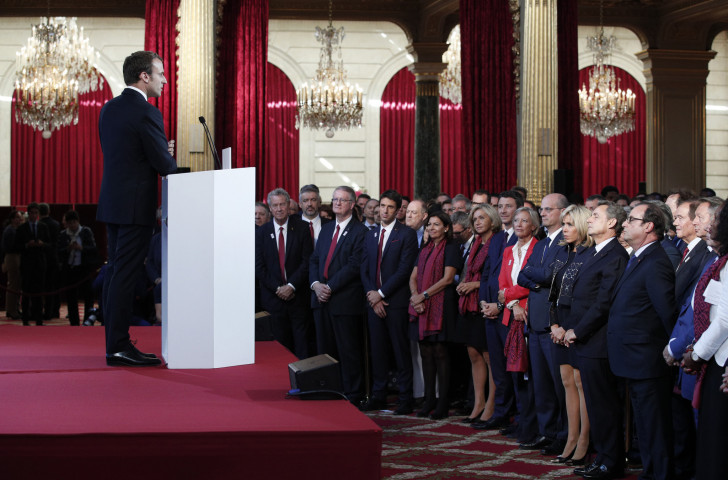 French President Emmanuel Macron praises the victorious Paris 2024 upon their return at the Elysee Palace ©Getty Images