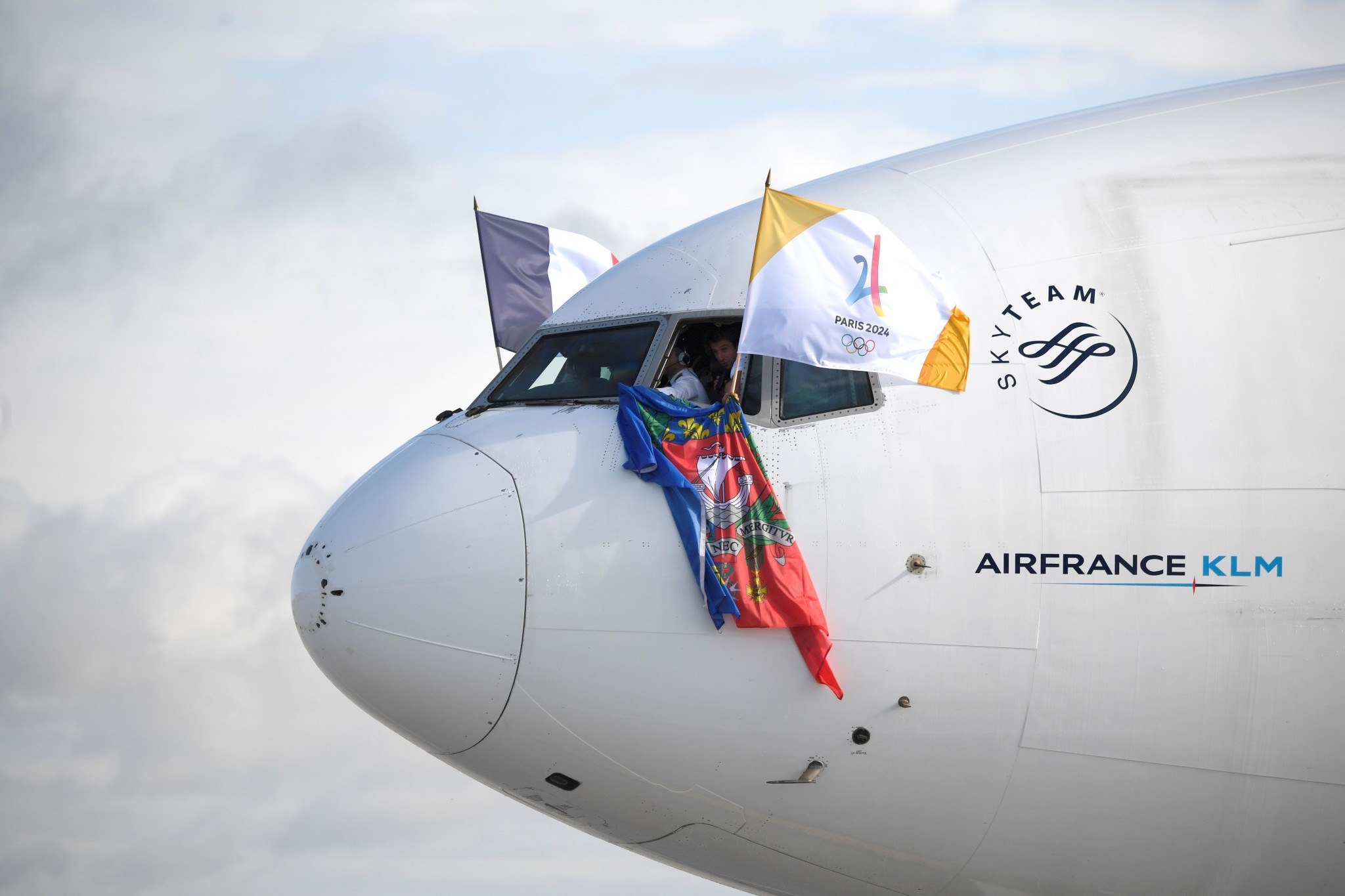 Paris 2024 arrived home to France in a special charter flight from Lima ©Getty Images