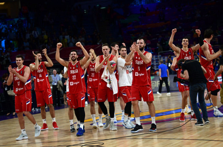 Serbia acknowledge the applause in Istanbul after defeating Russia 87-79 to reach Sunday's EuroBasket final, where they will meet Slovenia, shock winners over tournament favourites Spain ©Getty Images