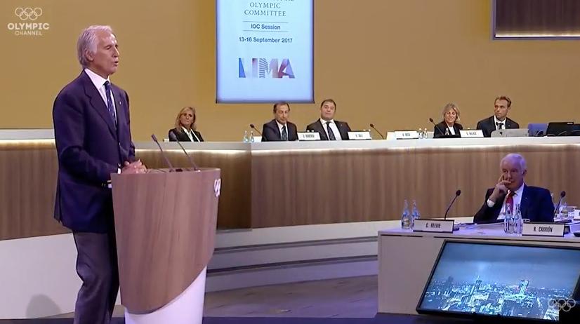CONI President Giovanni Malagò led the delegation presenting Milan's bid to host the 2019 IOC Session ©Facebook