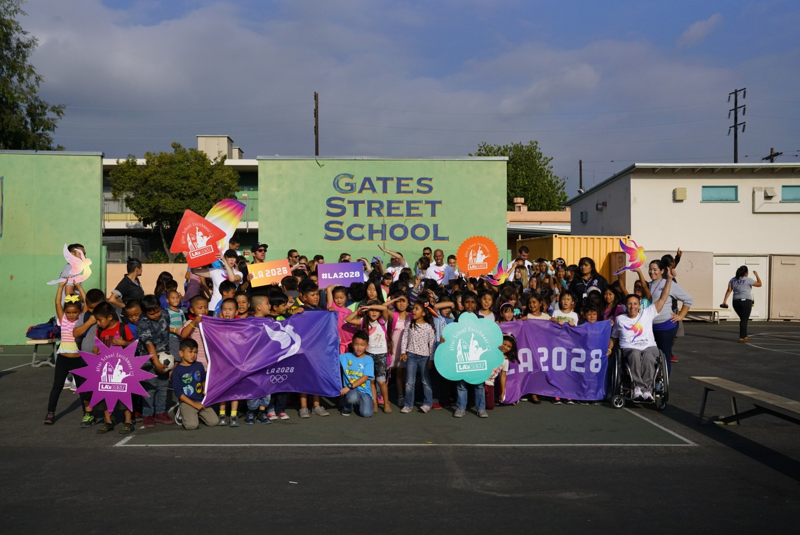 Los Angeles 2028 organisers take part in elementary school sports programme
