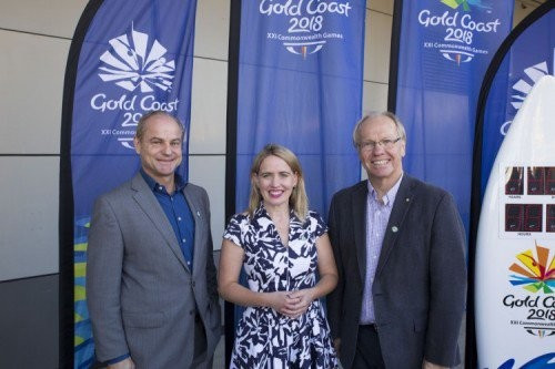 BAC acting chief executive Stephen Goodwin, left, Queensland Minister Kate Jones, centre, and Gold Coast 2018 chairman Peter Beattie, right, attended the ceremony ©Brisbane Airport/Twitter